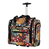 Lily Bloom Designer 15 Inch Carry On - Weekender Overnight Business Travel Luggage - Lightweight 2- Spinner Wheels Suitcase - Under Seat Rolling Bag for Women (Bliss)