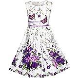 KP14 Girls Dress Purple Flower Party Size 9-10