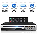 DVD Player for TV, HD DVD Player with HDMI AV Output, Karaoke MIC, and Coaxial Port, USB Input, Built-in PAL NTSC System, All Region Free, HD1080P DVD CD Player, HDMI/ AV Cable Included