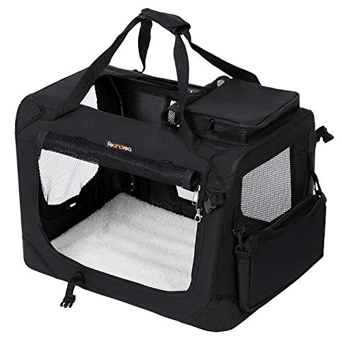 FEANDREA Cage de Transport Caisse Sac de Transport Pliable pour Chien Animal Domestique Noir L 70 x52 x 52 cm PDC70H