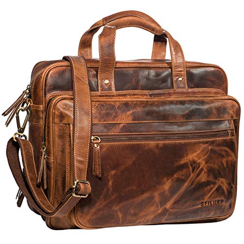 STILORD Vintage Business Bag Leather Walt 20 Liters, Colour:Kara - Cognac