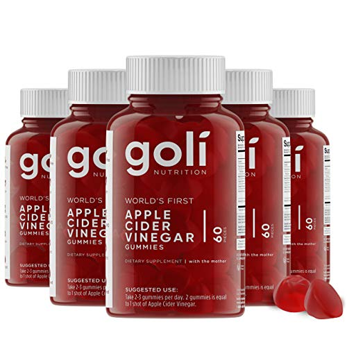 World's First Apple Cider Vinegar Gummy Vitamins by Goli Nutrition - Immunity, Detox & Weight (5 Pack, 300 Count, with The Mother, Gluten-Free, Vegan, Vitamin B9, B12, Beetroot, Pomegranate) 1