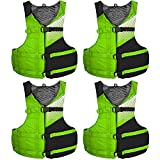 Stohlquist Fit Adult PFD Life Vest - Green + Black, Universal Unisex Size Fitting - Easily Adjustable for Full Mobility, Lightweight Buoyancy Foam, PVC Free, Coast Guard Approved - Pack of 4