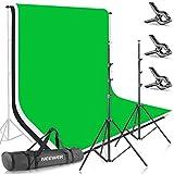 Neewer 2,6m*3m Supporto per Fondale & 1,8m*2,8m Sfondo (Bianco, Nero, Verde) per Ritratti, Fotografia di Prodotti e Ripresa Video