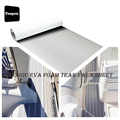 Schiuma EVA Boat DIY pavimento terrazze Pad (240cm 90cm), sintetico teak marine tappetino per moto d' acqua, Grigio con strisce bianco