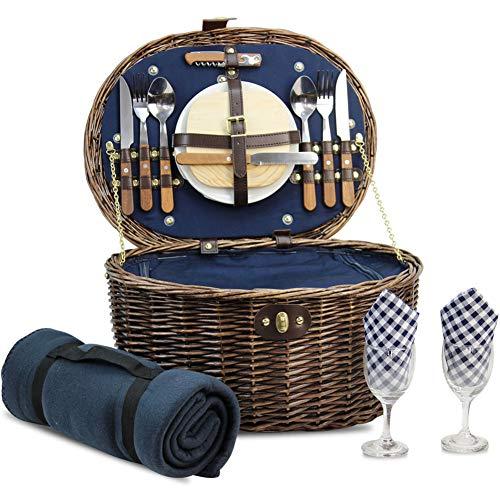HappyPicnic Oval Picnickorb für 2 Personen mit Kühlfach und Besteck,...