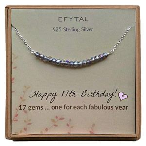 17th Birthday Gifts for Girls, Sterling Silver Necklace, 17 beads for 17 Year Old Girl, Jewelry Gift Idea