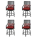 PHI VILLA Coating Old Craft Patio Swivel Height Bar Stools Armrest Chairs Set of 4-24' Seat Height