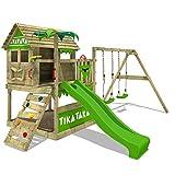 FATMOOSE Aire de jeux TikaTaka Town XXL Maisonnette en bois Portique de jeux...