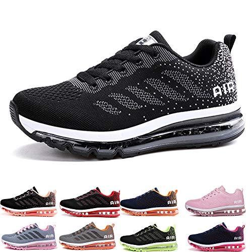 Air Zapatillas de Running para Hombre Mujer Zapatos para Correr y Asfalto Aire Libre y Deportes Calzado Unisexo Black White 37