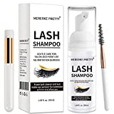 Eyelash Extension Shampoo 50 ml + Brush - Eyelid Foaming Cleanser - Sensitive Paraben & Sulfate Free - Eyelash Wash and Lash Bath for Extensions - Salon Use and Home Care