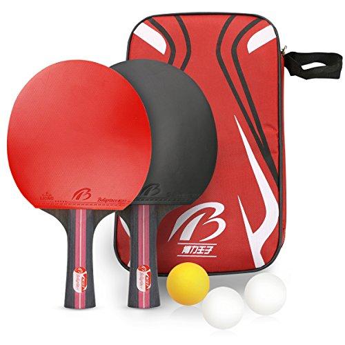 Tencoz Tischtennis Set, 2 Tischtennisschläger, 3 Tischtennis Bälle und 1 Tragetasche, Ping Pang Set Ideal für Anfänger, Familien und Profis