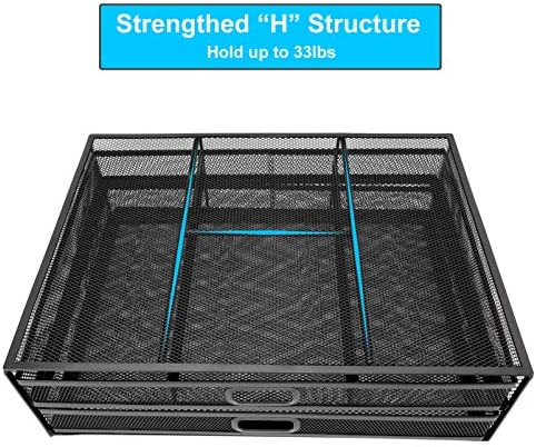 Monitor Stand Riser with Drawer - Wellerly Metal Mesh Desk Organizer - Dual Pull Out Storage Drawer for Computer, PC, Laptop, Printer, Notebook, iMac - Desktop Storage for Office School Home (Black)