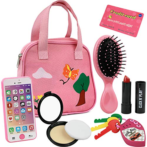 Little Girls pink purse loaded with everyday accessories, a great pretend play set for preschoolers, toddlers. Set includes; Decorative Pink Purse, Smartphone, car keys, credit card, hair brush, Lipstick, Blush with applicator. Pink purse features 2 carrying handles and a zipper for closing. All items and accessories are safe for little kids!