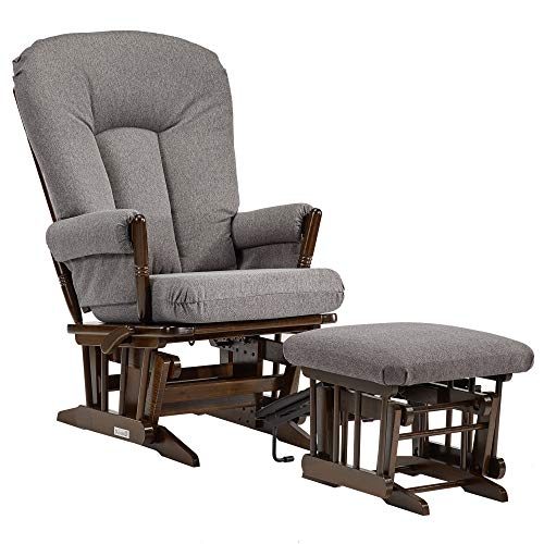 Dutailier Colonial Glider-Multi-Position Recline and Nursing Ottoman Combo, Dark Grey