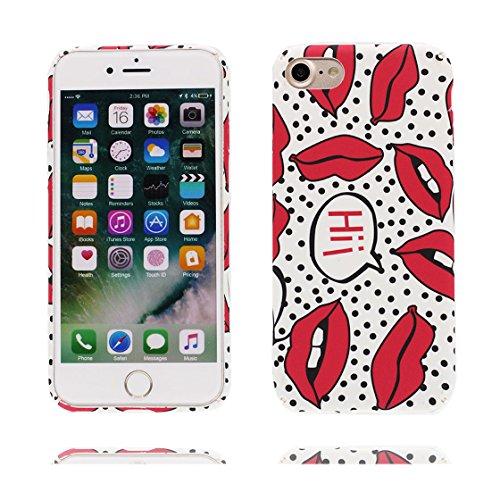 iPhone 6s Plus Custodia, Stampa morbida pelle TPU Soft Case Cover Paraurti antiurto-TPU Shell Skin Copertura per iPhone 6 Plus/6S Plus+ - Labbra rosse