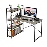 Nost & Host 46 Inch Small L Shaped Desk with Shelves, Corner Desk for Small Space with 4 Tier Storage Bookshelf, Vanity Makeup Table, Home Office Computer Desk, Walnut Gray