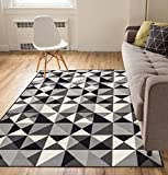 Well Woven Non-Skid/Slip Rubber Back Antibacterial 8x10 (7'10' x 9'10') Area Rug Lex Casual Geo Grey Black White Geometric Modern Thin Low Pile Machine Washable Indoor Outdoor Kitchen Hallway Entry