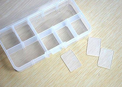 Covermason 10 Cuadrículas Ajustable Joyería Pastillas Uña Caja de Almacenaje Caso