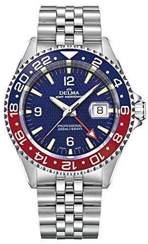 Delma Sportuhr - Herren Quarz, mit Edelstahlarmband 407053 (blau)