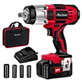 AVID POWER 20V MAX Cordless Impact Wrench with 1/2'Chuck, Max Torque 330 ft-lbs (450N.m), 3.0A Li-ion Battery, 4Pcs Drive Impact Sockets, 1 Hour Fast Charger and Tool Bag, Avid Power