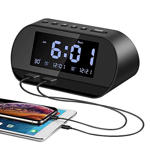 Aitsite Radio Réveil, Horloge Numérique avec Radio FM, Double Port de Charge USB, Double Alarme, Fonction Snooze, Luminosité Réglable, Thermomètre, 12/24H, Batterie Intérieure