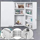 Armoire à Pharmacie Murale - 2 Portes, 11 Compartiments, Serrure, 2 Clés,...