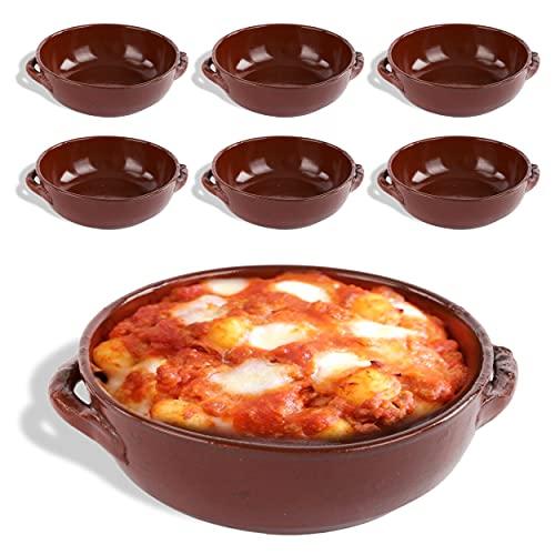 kasalingo 6 Tegami in coccio monoporzione da Forno 14 Cm, terrine di Terracotta Che esaltano Il Sapore Naturale dei cibi, Ciotole in Terracotta per zuppe, Pasta al Forno 100% Made in Italy.