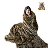 Premium Faux Fur Brown Spotted Lynx Throw Blanket/Bear Skin/Wolf w/Soft Minky Cuddle Fur Lining (5'x8')