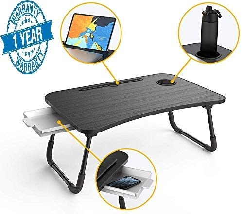 Callas Multipurpose Foldable Laptop Table with Cup Holder & Drawer, Study Table, Bed Table, Breakfast Table, Foldable and Portable/Ergonomic & Rounded Edges/Non-Slip Legs, WA-026, Black