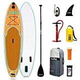 DAMA Blow Up Paddle Boards Adults 9'6'x30'x6', Traveling Board, Yoga Board,Camera Seat, Floating Paddle, Double Action Hand Pump, Waterproof Bag, Leash, Board Carrier, for Surfing, All Round Board