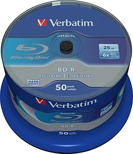Verbatim BD-R SL Datalife 25 GB - Blu-Ray-Disk - 6-fache Brenngeschwindigkeit - Hardcoat Scratch Guard - Spindel - 50er Pack