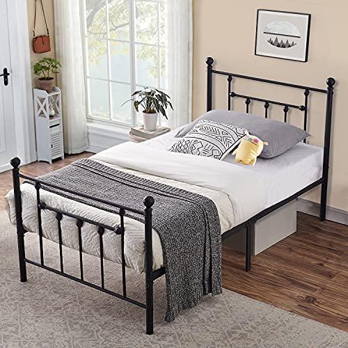 VECELO Twin Size Bed Frame Metal Platform Mattress Foundation with Headboard & Footboard/Easy Assemble, Black