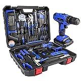 Letton Kit de herramientas con taladro inalámbrico de 21V, juego de herramientas manuales para el hogar para reparaciones en casa con maletín