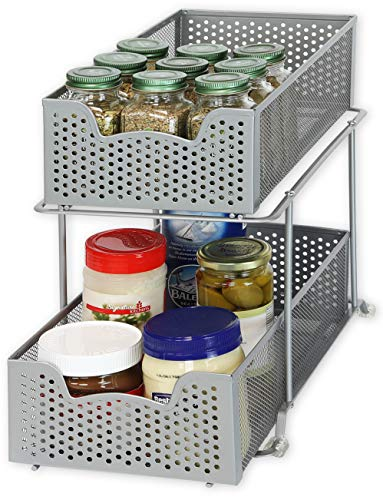 SimpleHouseware 2 Tier Sliding Cabinet Basket Organizer Drawer,...