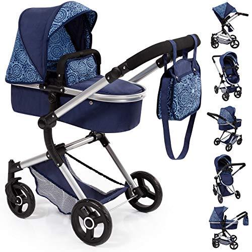 Bayer Design- Passeggino Neo Vario, Carrozzina per Bambole, Regolabile in Altezza, Colore Blu con...