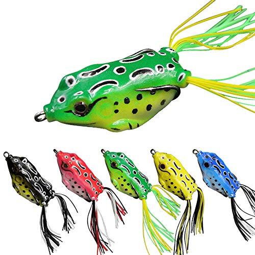 senvenelec Esca Ray Frog Topwater rana manovella rana esca, esca morbida pesca esca rana 3D occhio e gancio, pesca rana rana morbida - 5 pezzi