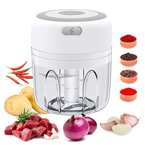 Elektrischer Mini-Knoblauchzerkleinerer 250 ml, tragbarer Mini-Zerkleinerer für Lebensmittel, wiederaufladbarer Knoblauchwolf, kleine Küchenmaschine für Gemüse, Fleisch, Obst und Babynahrung, weiß