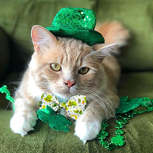Pohshido 2 Pack St. Patrick's Cat Collar with Bow Tie and Bell, Kitty Kitten Breakaway Lucky Irish Shamrock Collar for Girls and Boys Male Female Cats (Clove Lane)
