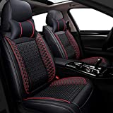 Big Ant Car Seat Covers, Breathable Leatherette Seat Covers Waterproof 5 Seats Full Set Front Back Cover 10 PCS - Fit Most Car, SUV, or Van (Black and Red)