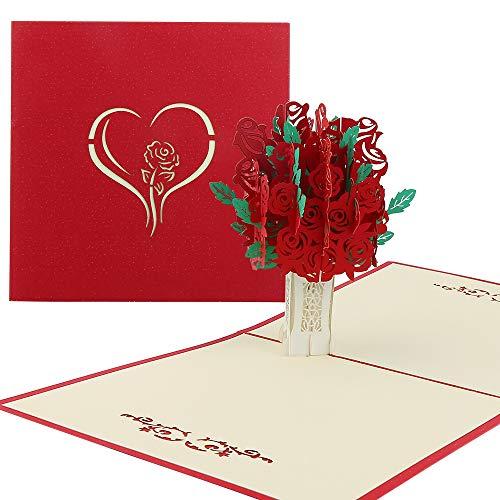 Vegena Rote Rosen Blumen Hochzeitskarte, Pop Up Karte Hochzeitsgeschenk Karte Hochzeit Muttertagskarte Karte Muttertag 3D, Geschenkkarte für Frauen Freundin Liebhabers inkl. Umschlag