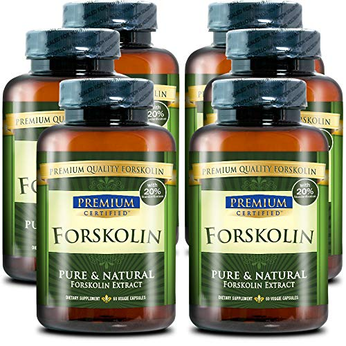 100% Pure Forskolin Premium Extract - 20% Coleus Forskohlii - Natural Weight Loss, Fat Burner and Belly Buster - 360 Veg Capsules (6 Months Supply) 1