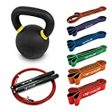 Valor Fitness Home Gym Bundle - Exercise Kit Includes 35 lb Kettlebell, Full Set of Resistance Bands and a Speed Rope