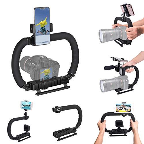 Hydra Stabilizer Handheld Camera Stabilizer DC+DV 2-Hand Holder Camera Steadycam Mount Hand Grip Shooting Rig Compatible for Gopro Action Cameras+ DSLR Cameras+iPhone/Samsung Phones by fantaseal