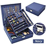 QBeel Jewelry Box for Women, Double Layer 36 Compartments Necklace Jewelry Organizer with Lock Jewelry Holder for Earrings Bracelets Rings - Deep Blue
