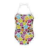 Coloranimal Cartoon Owl Puzzle Girls One-Piece Swimsuit Summer Beach Bikini Suit 5-6Y