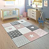 Kid's Rug Pastel Colors Checked Dots Hearts Stars White Grey Pink, Size: 3'11'' x 5'7''