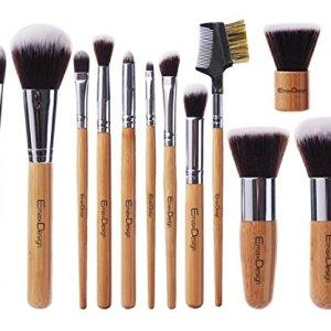 EmaxDesign 12 Pieces Makeup Brush Set Professional Bamboo Handle Premium Synthetic Kabuki Foundation Blending Blush… 23