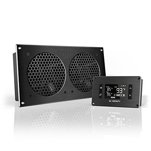 AC Infinity AIRPLATE T7, Quiet Cooling Fan System with Thermostat Control, for Home Theater AV Cabinets