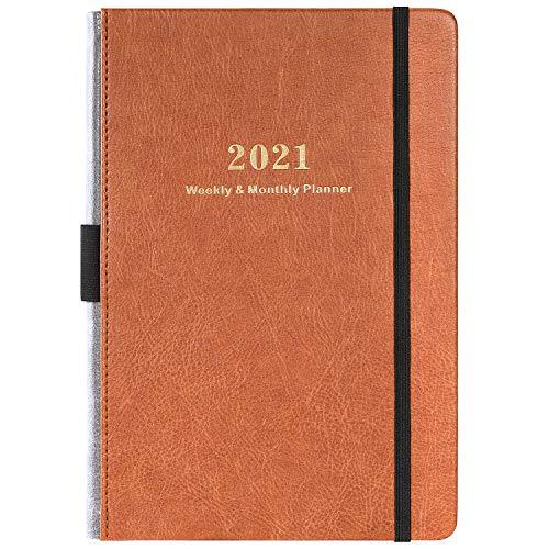 Kalender 2021 - Akademischer Wochen und Monats Kalender mit Kalender Aufklebern, von Januar 2021 bis Dezember 2021, Dickem Premium Papier A5 mit Stifthalter, Innentasche und 88 Notizenseiten